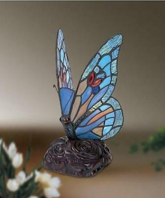 BLUE BUTTERFLY TIFFANY STYLE GLASS TABLE LAMP ( Stunning Quality )