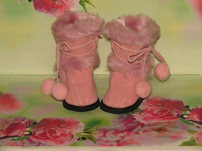 Pink Furry Pom Pom Boots To Fit American Girl Kidz N Cats Galoob Baby Face Doll
