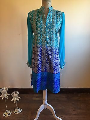 Agha Noor Inspired ...Pakistani designer Silk Embroiderd Shirt*Sale price*
