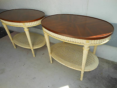 Vintage Oval Cherry and Cane Painted End Tables Shabby Hollywood Regency