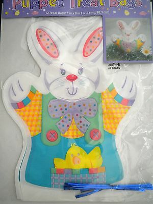 """Pkg. of 12 """"EASTER/SPRING"""" Puppet Treat Bags ~ 7"""" x 8"""""""