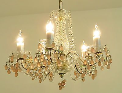 Superb Vintage Crystal Chandelier Light Lamp Pink Droplets Lustre Ancien Rose