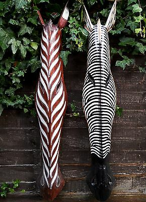 Amazing Coloured Wooden Mask Animals ZEBRA 100 cm Wall Handing Indonesia New