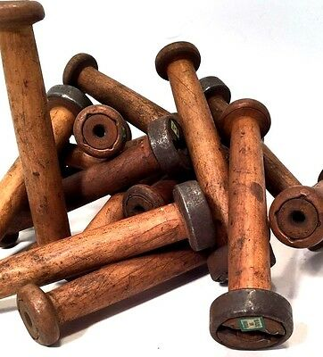 Textile Bobbins Spools Spindles Vintage Wooden Imported 36 Quills fm India