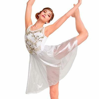 Dance Costume XL Child White Metallic Dress Lyrical Solo Competition Pageant