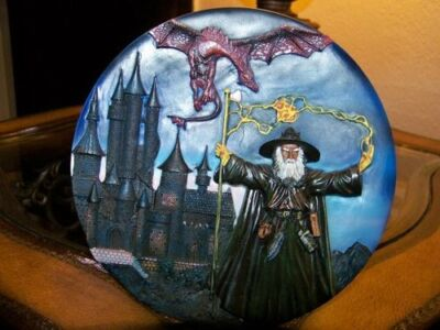 """Raised 3D Beautiful Dragon and Wizard 7 1/2"""" Decorative Plate b"""