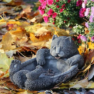 Cat Bird Bath Feeder Handcast Stone Garden Ornament Statue Patio Decor Gift