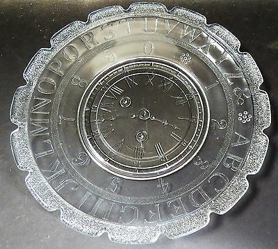 "Children'S Abc Plate  W/clock-Alphabet-Numbers - Clear Glass - 7"" - Excellent"