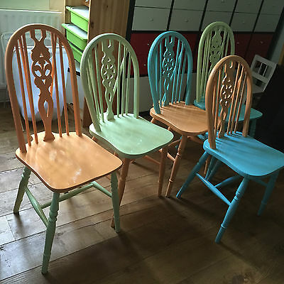 Hand Painted Wooden Wheel Back Chairs Pastel Colours + Laura Ashley Cushion