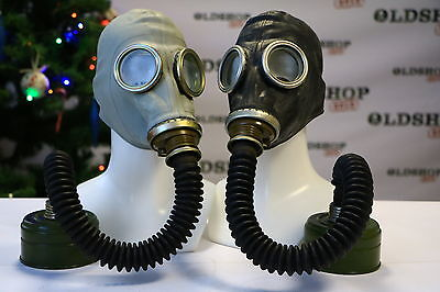 WW2 SET of two BLACK & GRAY SOVIET RUSSIAN Gas Masks GP-5 with filters with hose