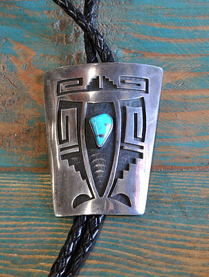 Vintage Hopi Sterling Silver Overlay And Turquoise Bolo Tie