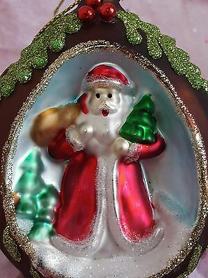 NEW Glass Santa Indent Scene Christmas Tree Ornament 3D Free Shipping
