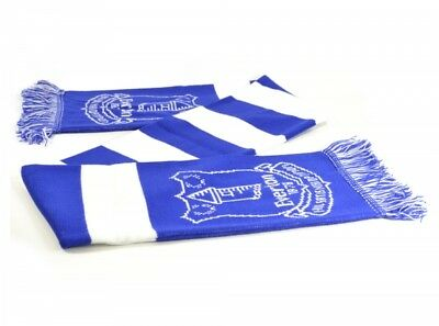 Everton Football Club Scarf Blue White Jacquard Badge Crest Official