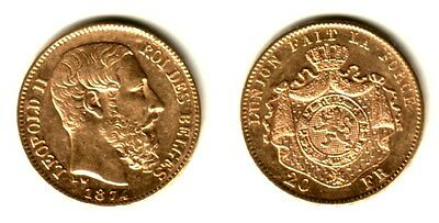 1874-KING LEOPOLD I - BELGIUM AUTHENTIC SPECIFIC DATE GEM  BU 20 Franc GOLD COIN
