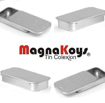 Silver Metal Slider Top Tin Containers - Crafts Geocache Storage By MagnaKoys®