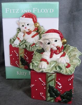 Fitz & Floyd Lidded Ceramic CHRISTMAS Kitty Kringle CAT on GIFT Box Candy Dish