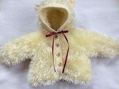 """Hand Knitted Fun Fur Coat 0/3 Month Baby 19/22"""" Reborn Doll"""