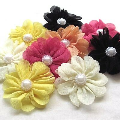 5pcs Fabric Ribbon chiffon Flowers Bows w/ Rhinestone Appliques Craft Bulk #262