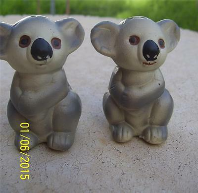Cute Vintage Pottery Koala Bear Salt & Pepper Shakers