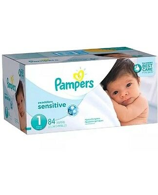 Pampers Swaddlers Size 1 Sensitive Diapers Super Pack 84 Count Ships Expedited!