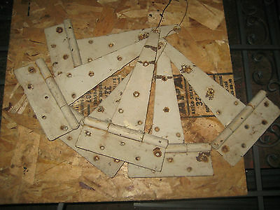 14 inch STRAP HINGES Primitive AGED RUSTIC WHITE PAINT