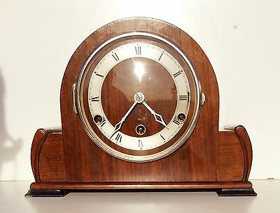 Art Deco Walnut British Westminster Chime Mantle Clock