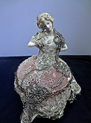 Lovely Porcelain Half Doll Ring Or Pin Cushion Antique Lace & Marcasite Gown