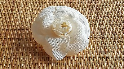 Authentic CHANEL Ivory Silk Flower Corsage Brooch / Pin, France