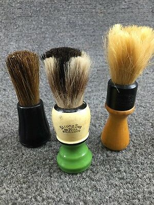 Group of 3 Barber Shaving Brushes - 2 Wood Strong Set & 1 Bakelite Ever Ready