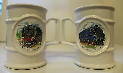 2 Holkham Pottery Transfer Printed Railway Collectable Mugs
