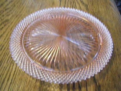 Antique Pink Depression Glass MISS AMERICA CAKE PLATE Hocking Co. RARE Pastry