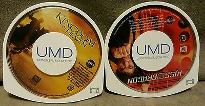 Lot Of 2 UMD Videos PlayStation Portable Disc Only Kiss of dragon, Kingdom Heavn