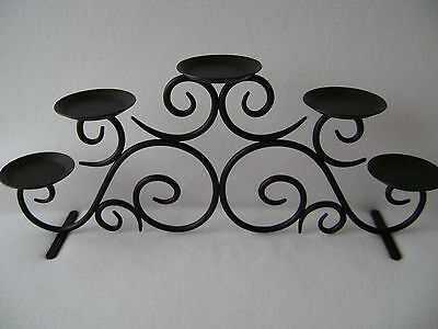 Black Metal Wrought Iron Style Scroll Candle Holder Rustic Tuscan Centerpiece