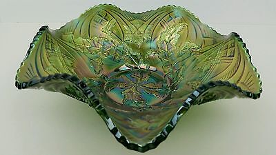 "Carnival Glass Millersburg Whirling Leaves Green Luster Six Ruffle 10"" Bowl"