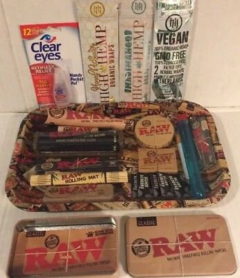 Authentic Raw Paper King Size Combo Tray+Papers+Tips+Rolling Machine+Lighter Etc