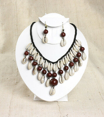 """NEW African Style Brown Cowrie Shell Necklace earrings ethnic tribal 12"""" long"""