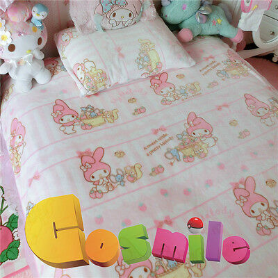 """Kawaii Bowknot My Melody Kitty Blanket Bed Sheet Flannel Big 79"""" x 79"""" Cos Gift"""