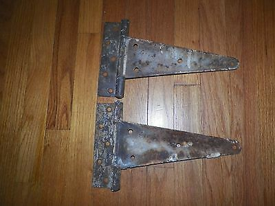 "2 Large 12"" T Hinges,Barn Door Shed Gate,Nice Rusty & Crusty"