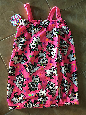 NEW Justice for Girls Pink Unicorn Spa Bath Shower Wrap Size XS Small 6 7 8 10