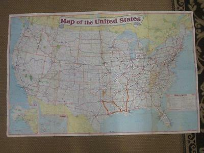 Vintage EXXON Travel Club Large United States Road Map  Perfect for Framing 1987