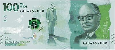 100000 pesos Colombia UNC NEW NOTE!!!