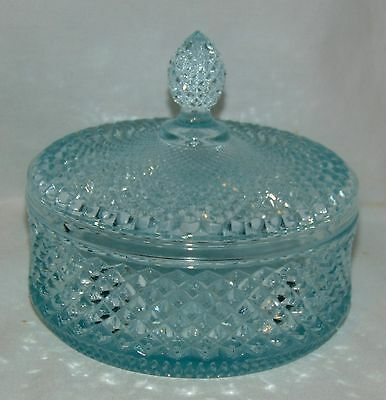 Westmoreland ENGLISH HOBNAIL* TURQUOISE BLUE* 5 PUFF BOX w/COVER* EH180*