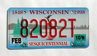 Wisconsin SESQUICENTENNIAL Specialty License Plate #82082T - BIRD LAKE SUNRISE