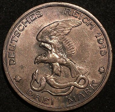 1913 Germany- Prussia 3 Mark Silver Coin