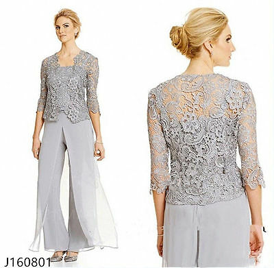 Mother of the Bride Outfits Sheath Formal Party Pant Suits Gray Gowns Customize