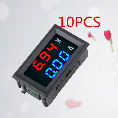 10*DC 4.5-30V Dual Red Blue LED Digital Voltmeter Ammeter Volt Amp Meter Gauge~*