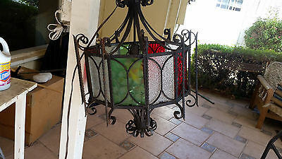 Antique wrought iron/stained glass chandelier