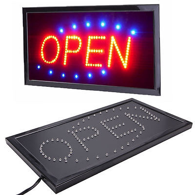 Bright Animated Motion Running Neon LED Business Store Shop OPEN Sign + Switch