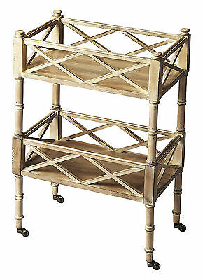 Carts - Chinese Chippendale Rolling Serving Cart - Bar Cart - Driftwood