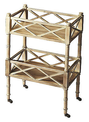 Chinese Chippendale Rolling Serving Cart - Bar Cart - Driftwood - Free Shipping*